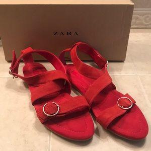 Zara Sandles, Red suede, Size 9